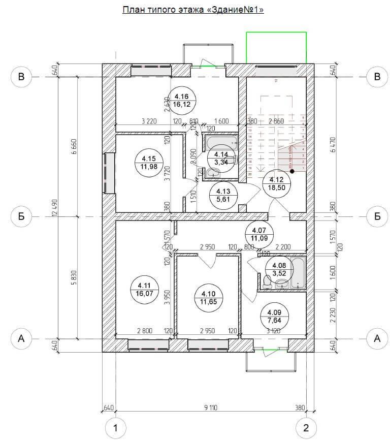 План типового этажа ЖСК Отрада Шевелюха 87